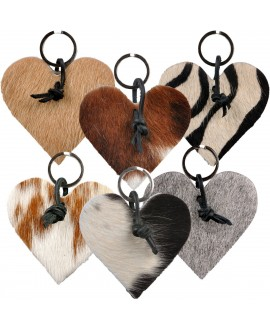 Cowhide Keychains - Heart...