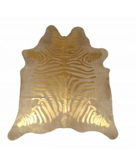Cowhide with golden zebra print