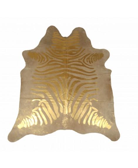Cowhide with golden zebra print