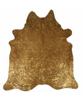 Cowhide printed with spots in metallic gold