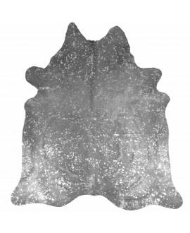Koeienhuid beprint met metallic zilver kleurige vlekken