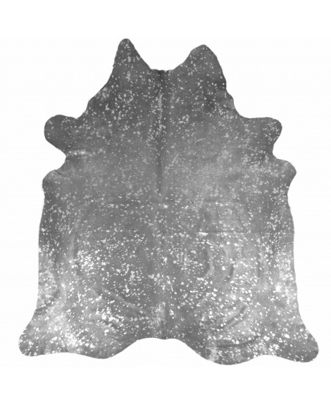Cowhide printed with spots in metallic silver