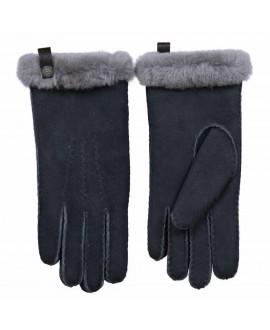 Blauwgrijze lamsvacht dames handschoenen