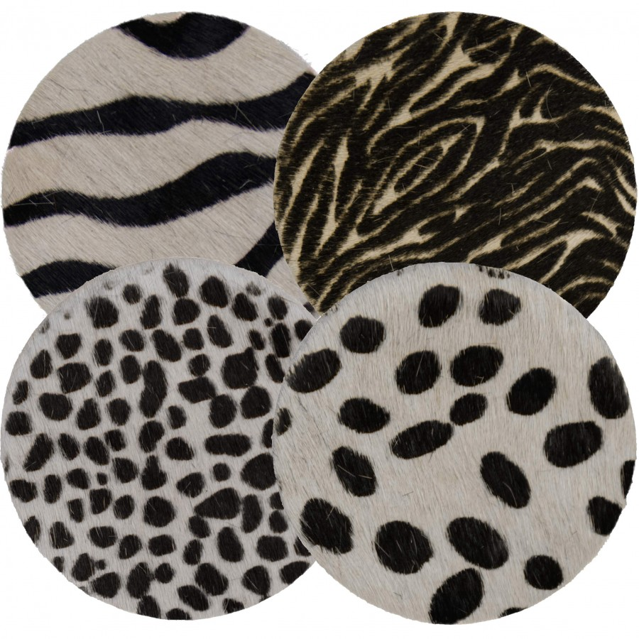 Selection of round coasters from cowhides