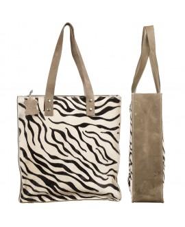 Cowhide Shopper - Zebra Print