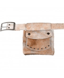 Cowhide Belt Pouch - Champagne